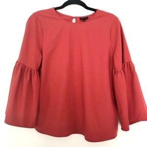 Who What Wear Red Bell Sleeve Blouse